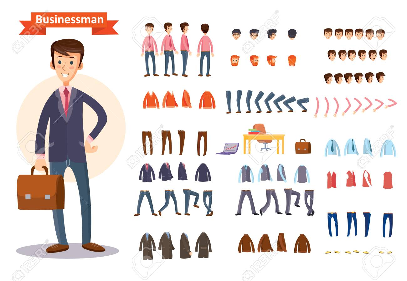 Man, businessman character creating cartoon vector set. Collection of faces, front, side and back view, emotions, hands and feet bent in different positions, formal and casual clothes and accessories - 90595010