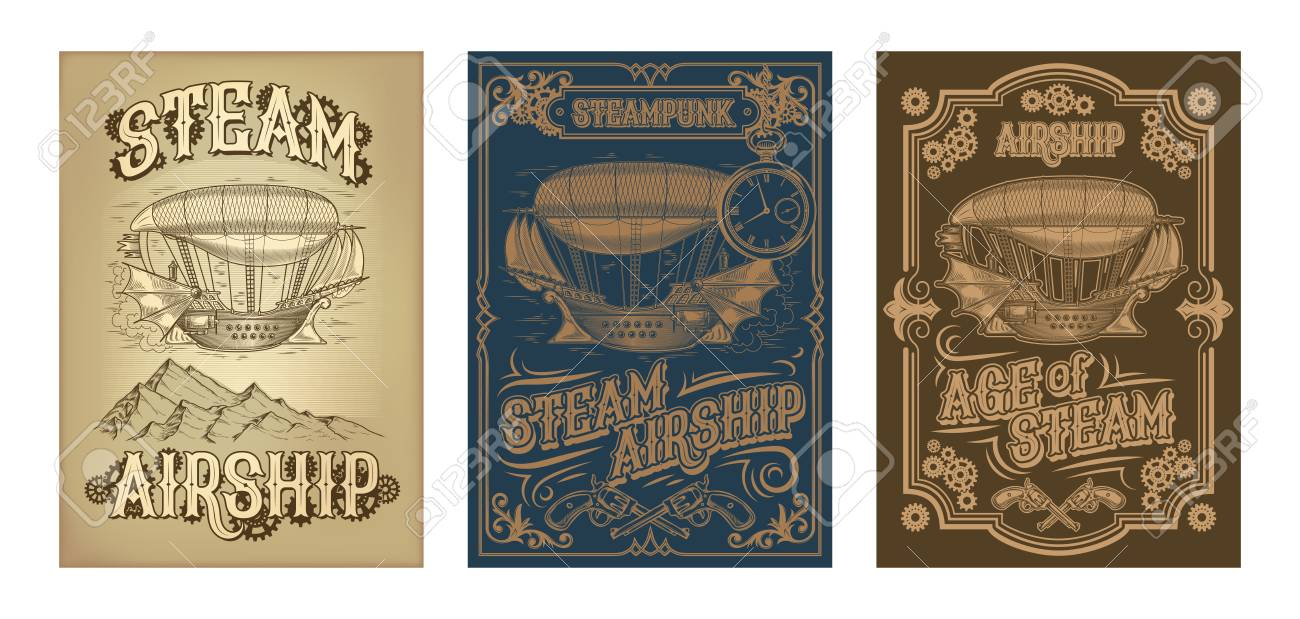 Set vector steampunk posters, illustrations of a fantastic wooden flying ship in the style of engraving with decorative frame of gears and pistols. - 90763935