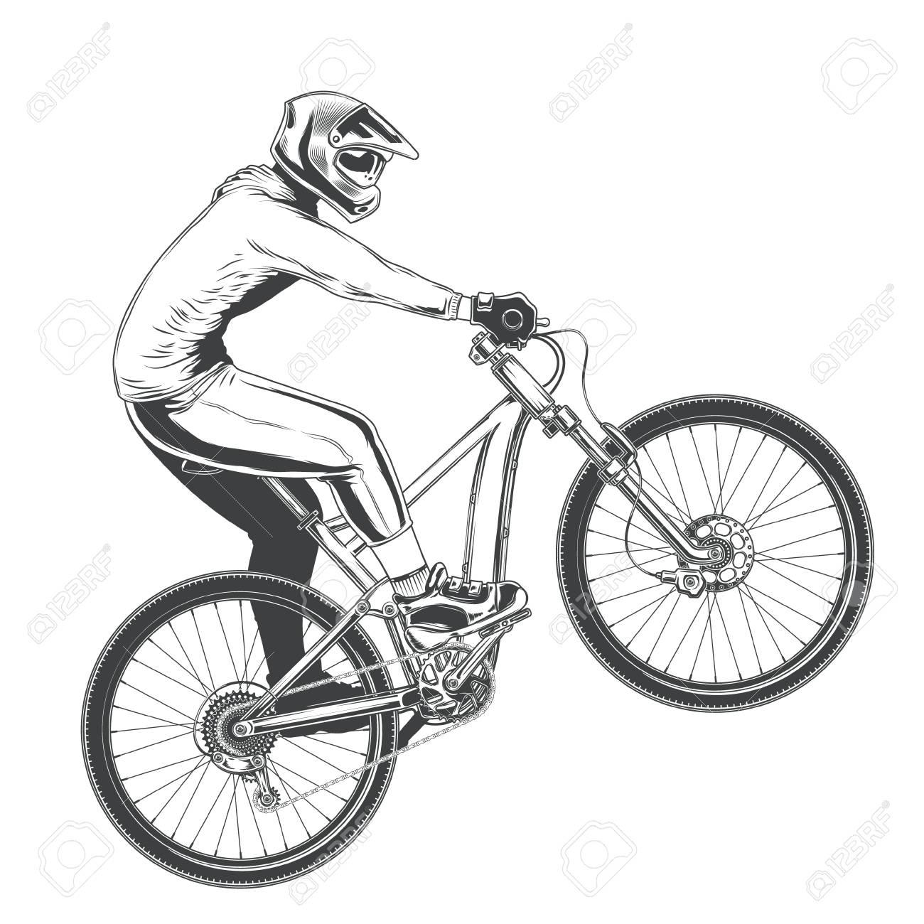f087110f93 Foto de archivo - Paseo en bicicleta deportiva, ciclista de BMX realizando  un truco, competencia de bicicleta de montaña, ilustración vectorial negro  ...