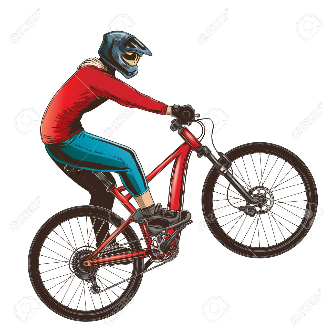 Ride on a sports bicycle, BMX cyclist performing a trick. Mountain bike competition, color vector illustration isolated on a white background. - 91102473