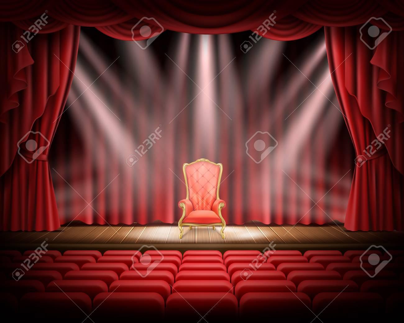 Ouvrir Le Rideau Rouge Et Scène Théâtrale Illuminée Avec Chaise ...