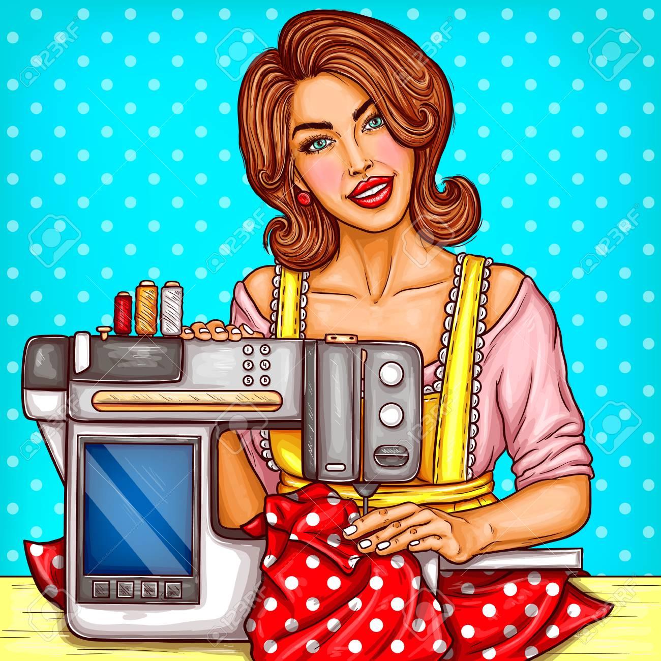Couturière de jolie femme de vecteur coud sur une machine à coudre moderne  avec affichage. Couture, passe-temps pour femme au foyer, couturière dans