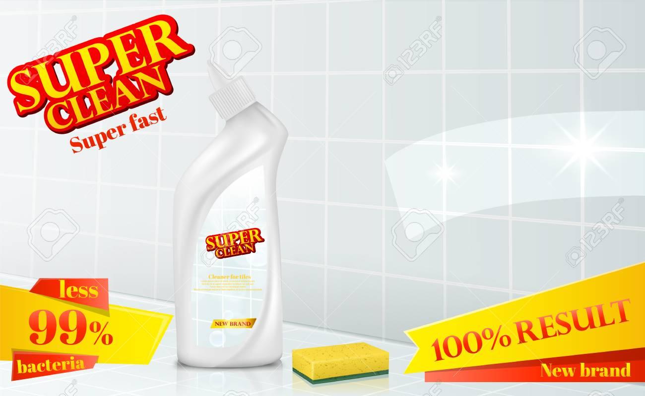 Vector Bathroom Tiles, Ceramic Surface Cleaner Ad Poster, Detergent ...