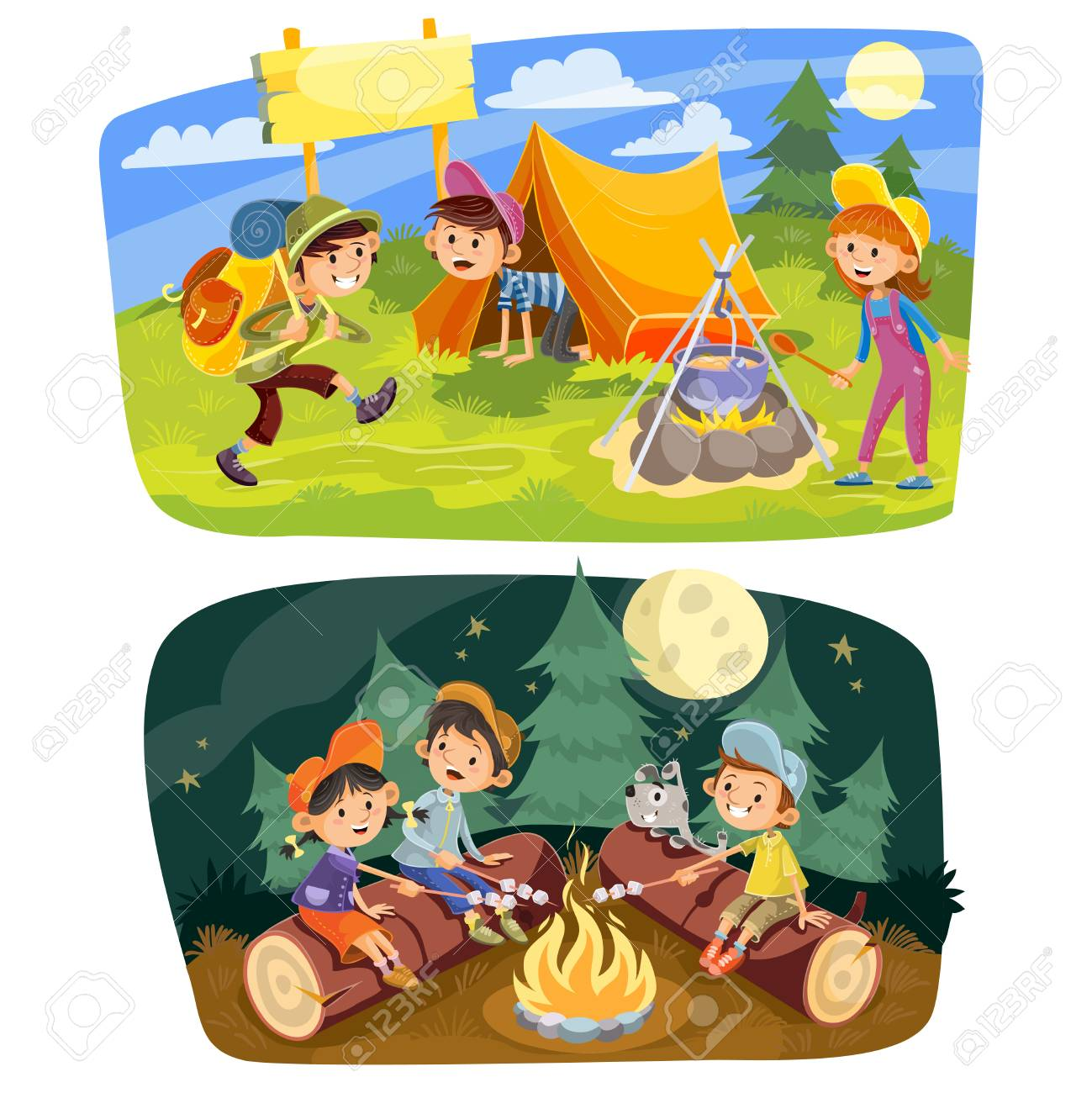 Kids summer camping vector concept illustration. Group of teens make a camp at nature, rest in tent, cook food outdoor and roast marshmallow on campfire in evening time. - 93658096