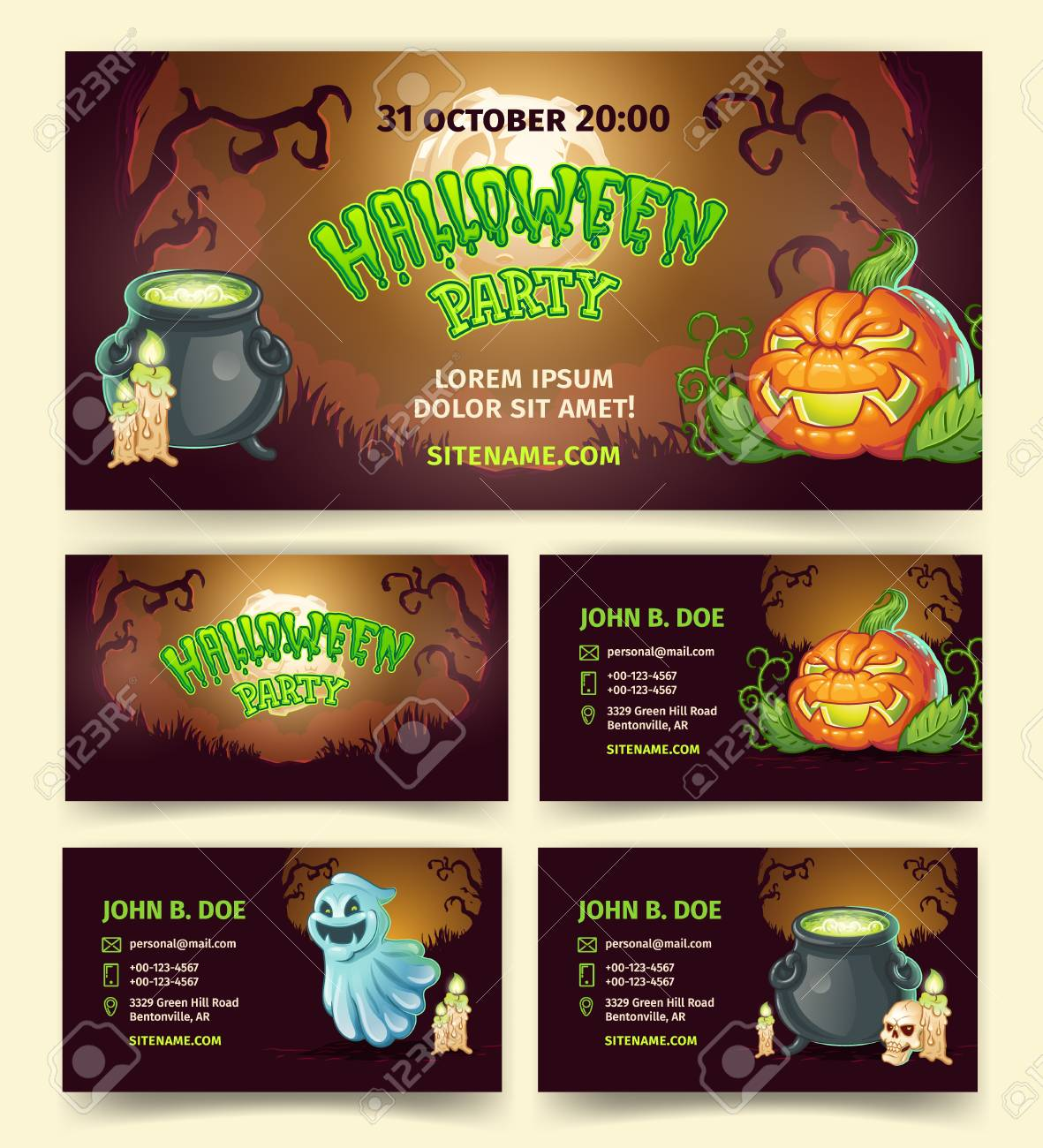Halloween Party Vector Banners And Invitation Template Of Pumpkin Lantern Spooky Ghost In Dark Forest