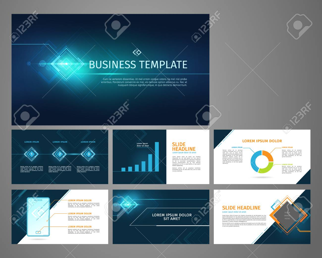 Vector business template set. Blue abstract banner, presentation with infographics, chart, diagram layout. - 93567990