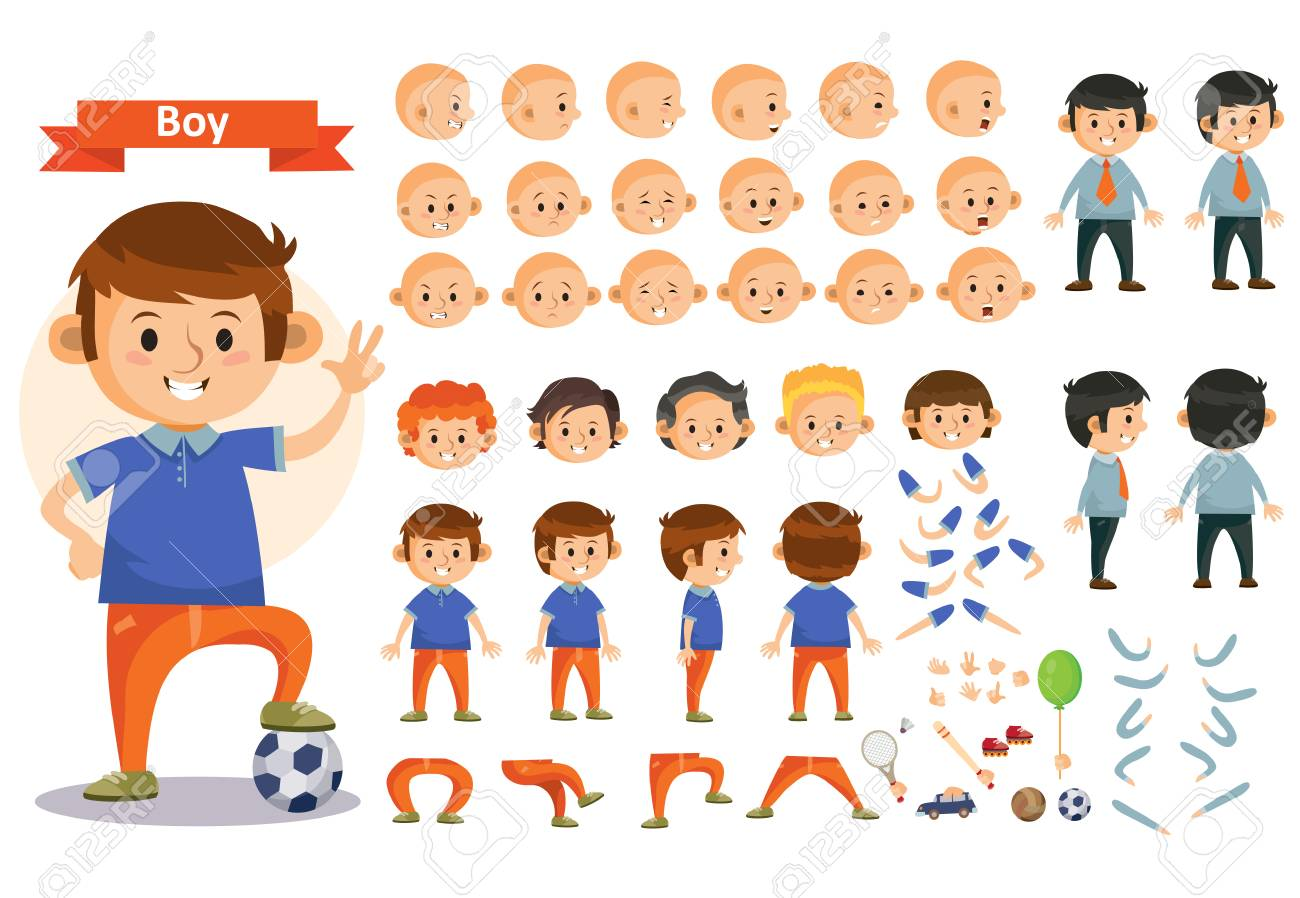 Boy Kid Playing Football And Toys Vector Cartoon Child Character