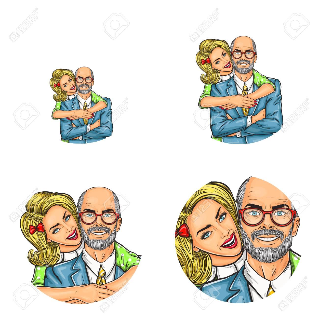 vector pop art avatars for social network chat user profile or