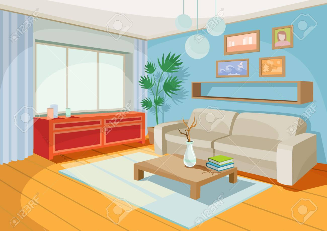 Living Room Chest   Illustration Of A Cozy Cartoon Interior Of A Home Room A Living