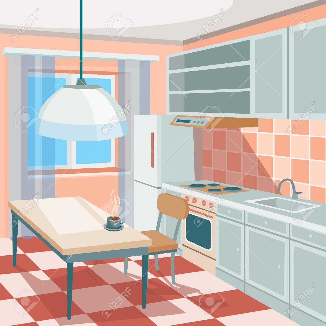 Cartoon Illustration Of A Kitchen Interior With Kitchen Cabinets