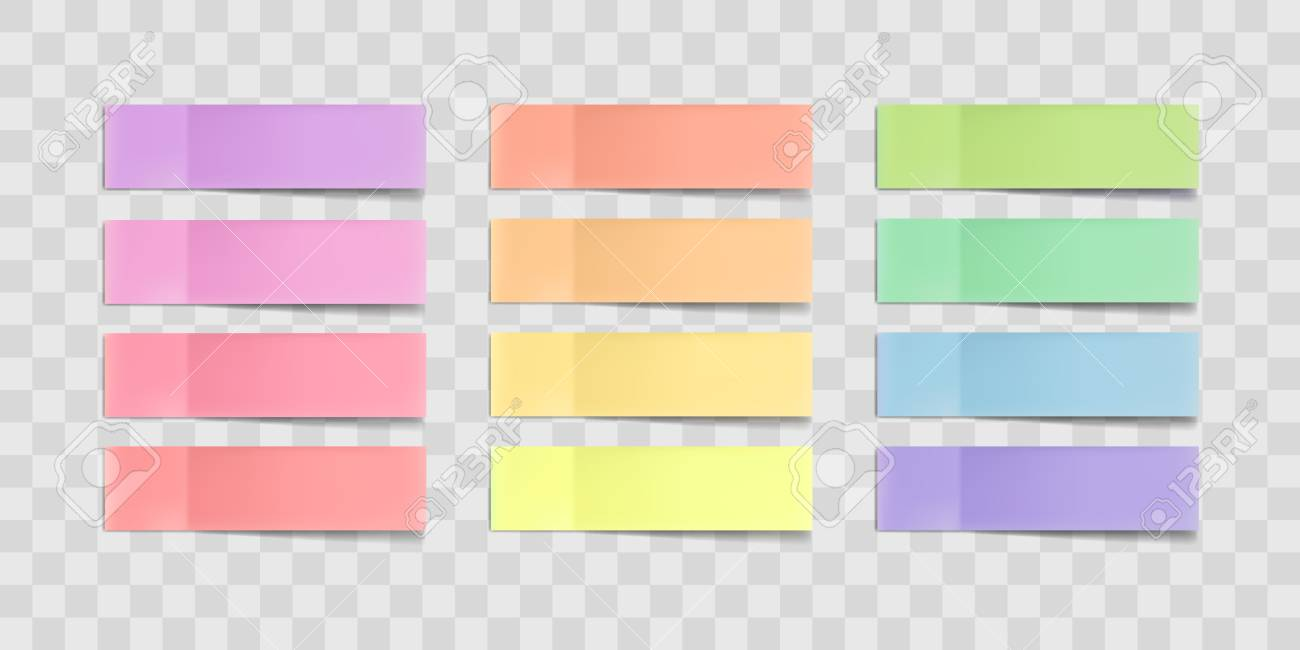 Vector colorful sticky notes, post stickers with shadows isolated on a transparent background. Multicolor paper adhesive tape, rectangle empty office blanks, reminder lists. Great for banner - 94237973
