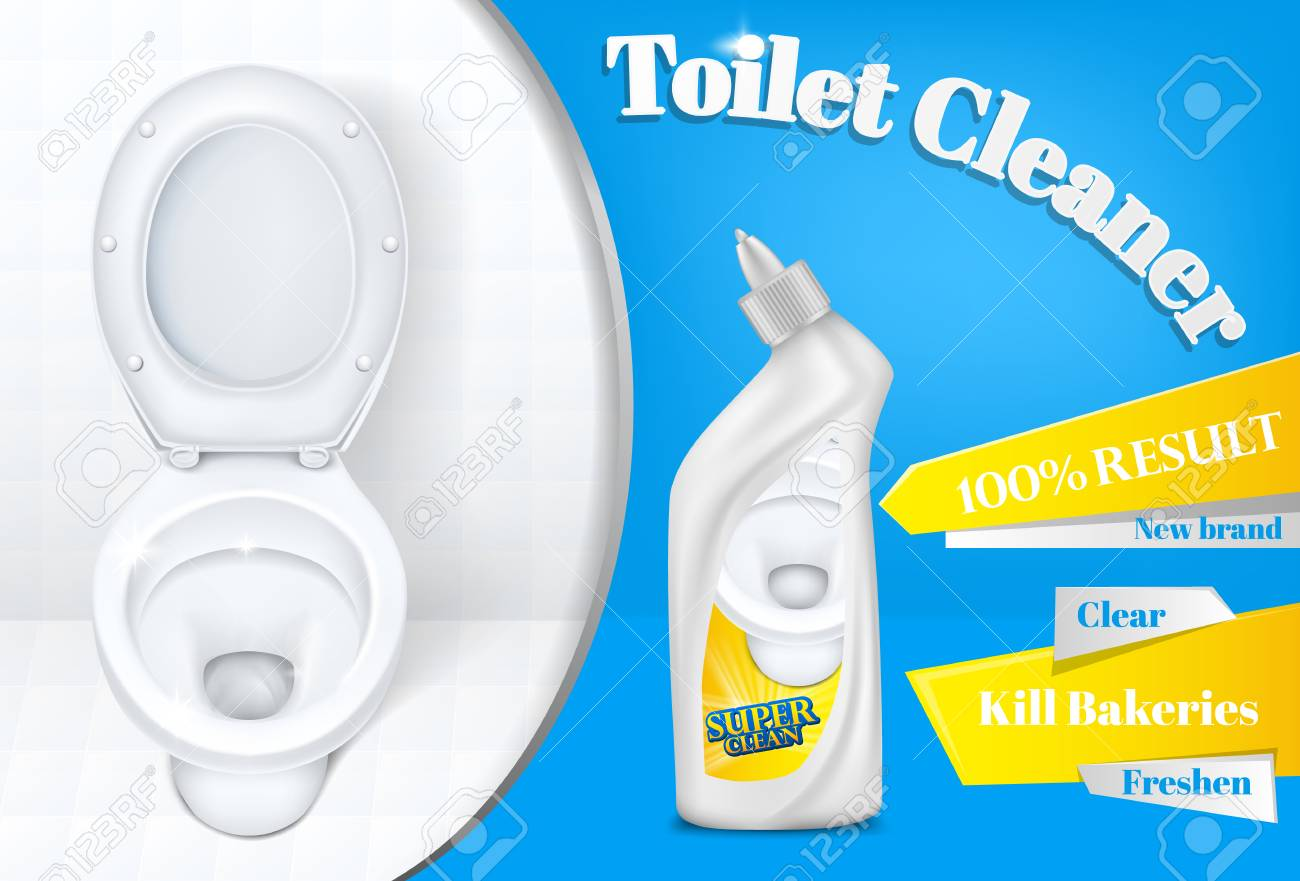 toilet cleaner vector advertising poster template illustration