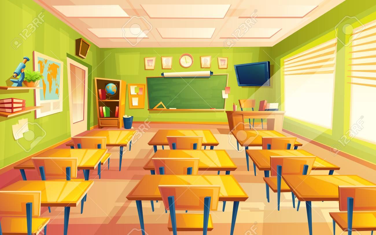 vector cartoon empty elementary or high school, college, university