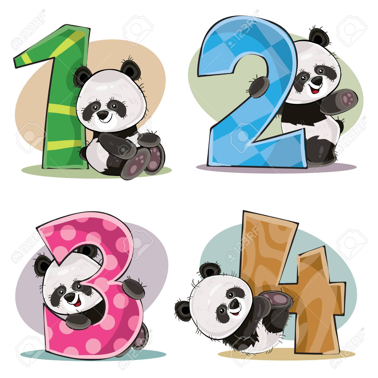 Set of cute baby panda bears with numbers vector cartoon illustration. Clipart for greeting card for kids birthday, invitation for invite, template, t-shirt print. Fun math, counting, numerals 1,2,3,4. - 94714233