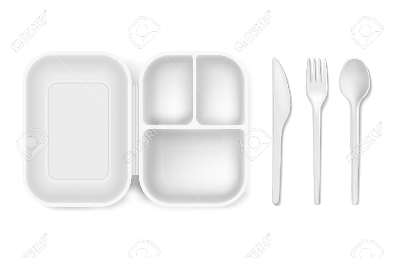 Disposable Plastic Spoon Fork Or Knife And Lunch Box Vector
