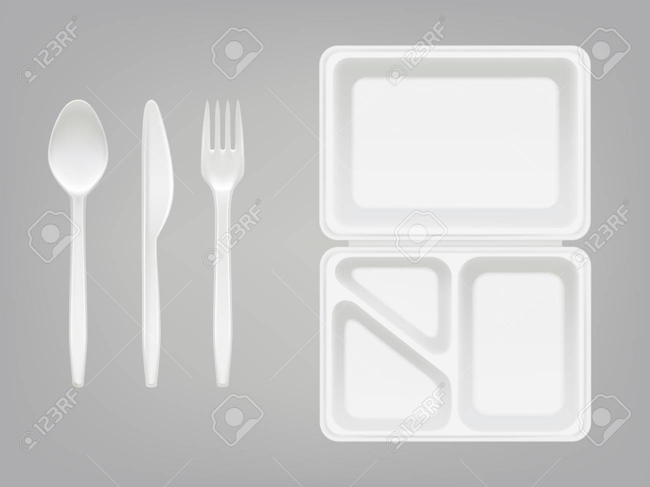 Disposable Plastic Lunch Box And Cutlery Vector Illustration