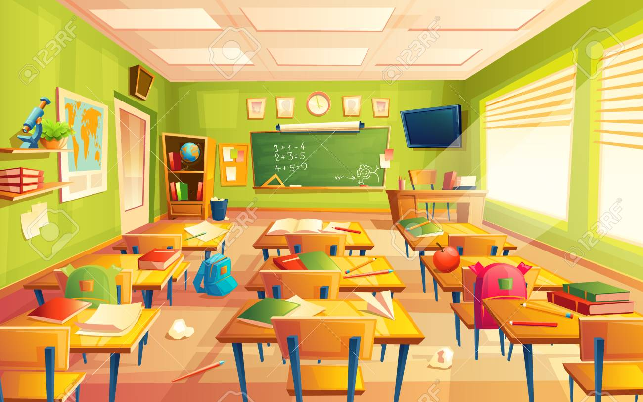 Vector classroom interior. Educational concept, mathematics room, blackboard, desks, school supplies. Training room illustration for advertising, web, internet promotion - 95040813