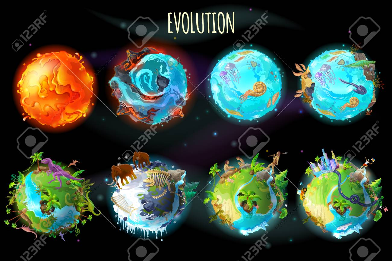 Vector cartoon fantastic planet Earth, world evolution set. Cosmic, space element game, timeline infographic design. Illustration from burning lava, water period, ice Age to green tropical plant river - 95014956