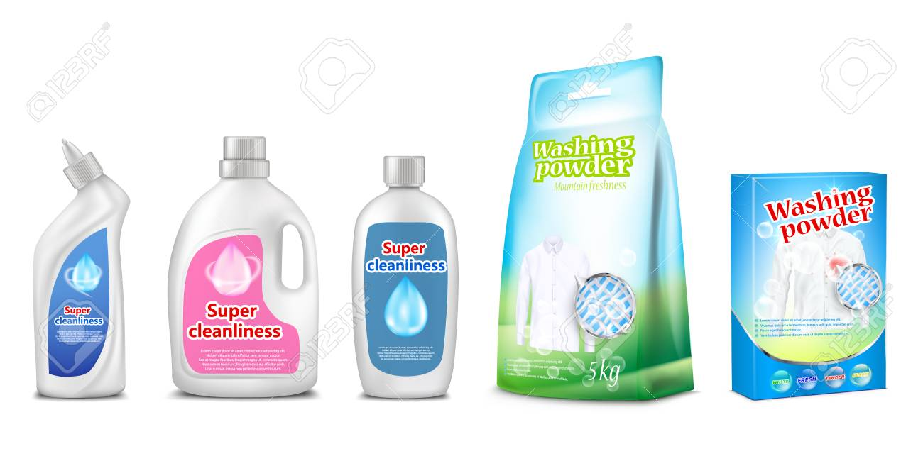 Household Cleaning Chemicals Vector Illustration Of Toilet And - Bathroom cleaner liquid