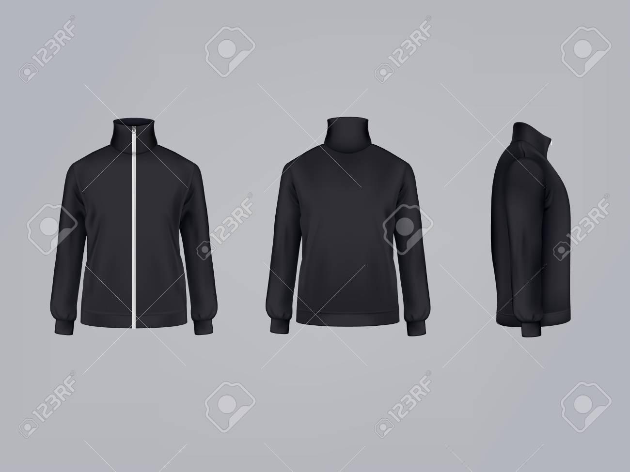 Sport jacket or long sleeve black sweatshirt vector illustration 3D mockup model template front, side and back view. - 95088597