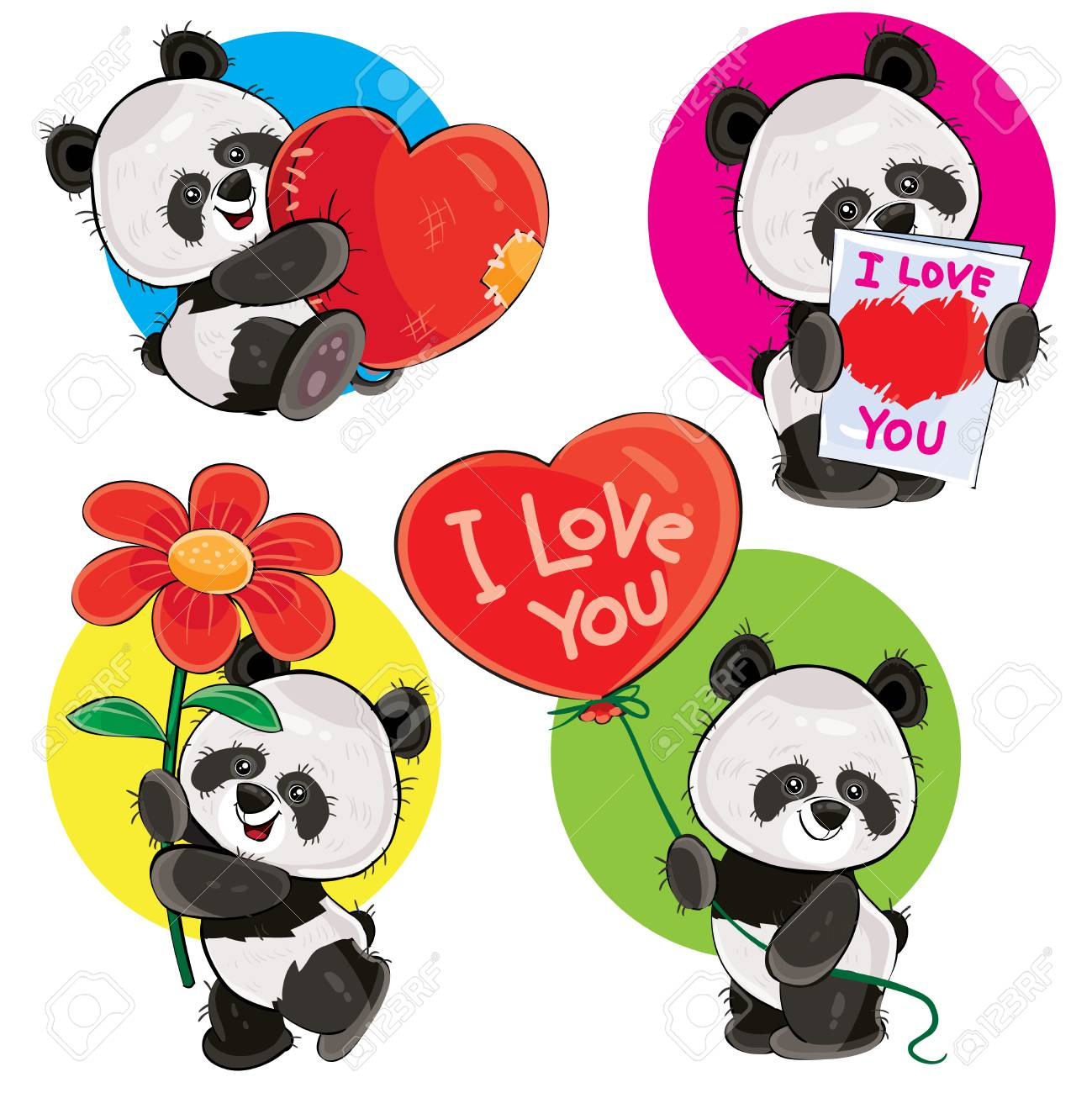 photo about Valentine Stickers Printable referred to as Valentine working day vector cartoon established with lovely panda bears, with..