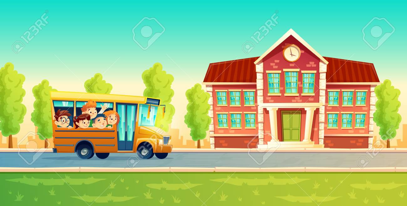 Vector cartoon colorful background with cheerful smiling kids, happy pupils, riding on yellow bus. Back to school concept illustration. Poster with group of boys and girls go on excursion or trip - 96220282
