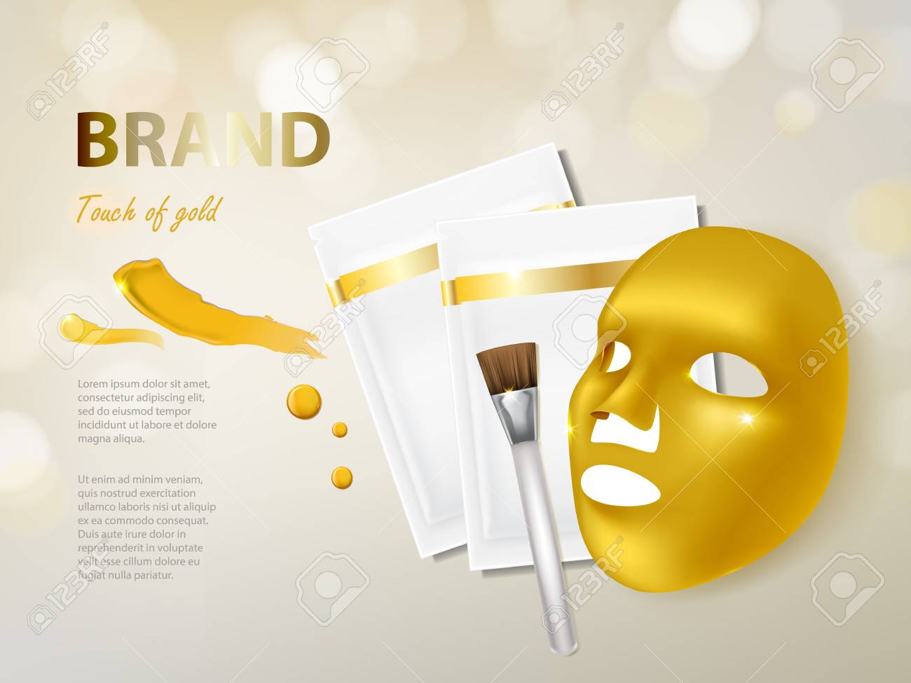 Vector Cosmetic Banner With 3d Realistic Golden Facial Mask Royalty Free Cliparts Vectors And Stock Illustration Image 95953849