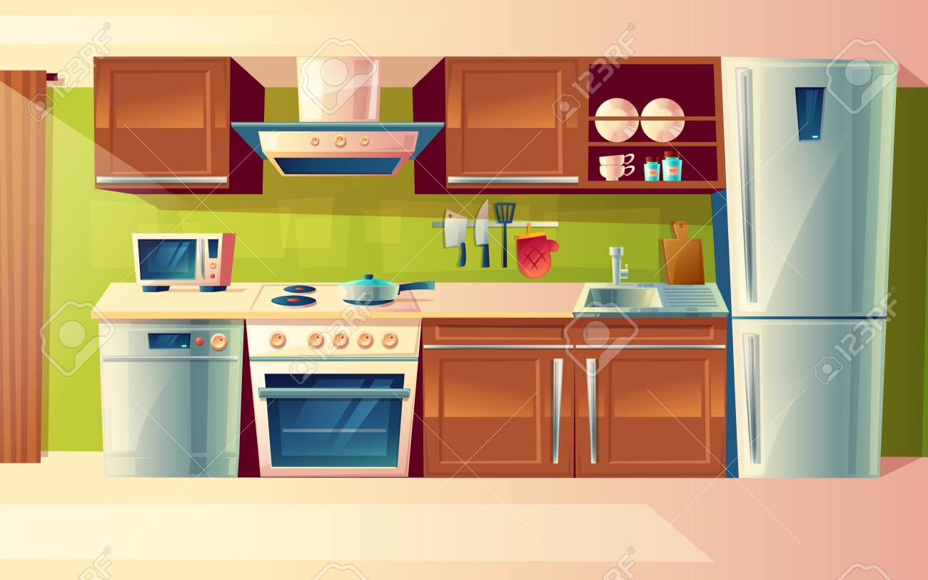 Cooking room interior, kitchen counter with appliances in cartoon illustration. - 96621602