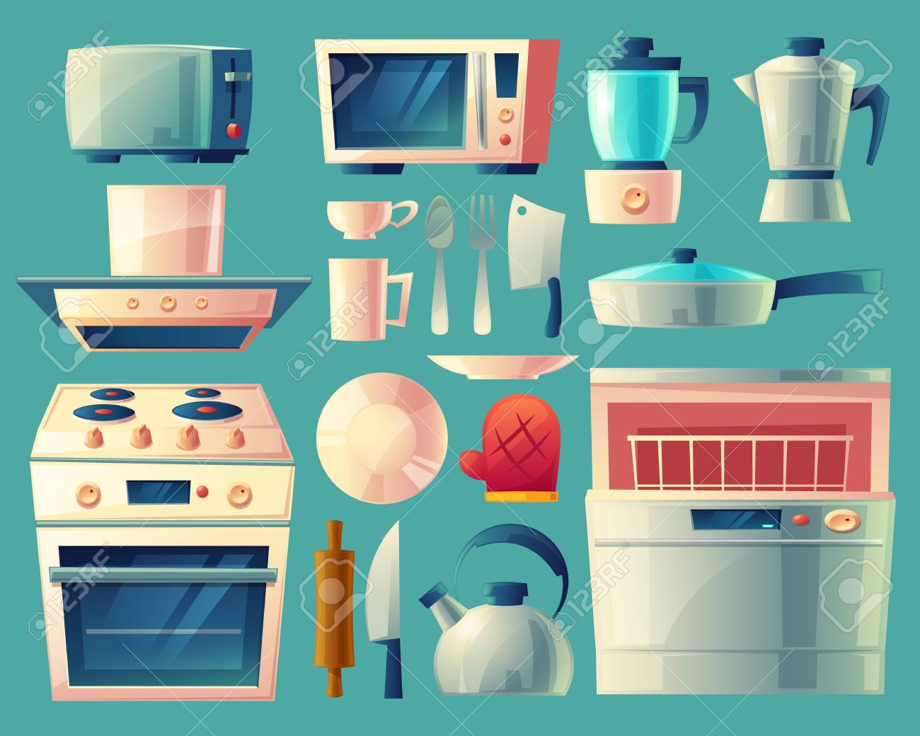 Set Of Kitchen Appliances In Cartoon Illustration. Royalty Free ...