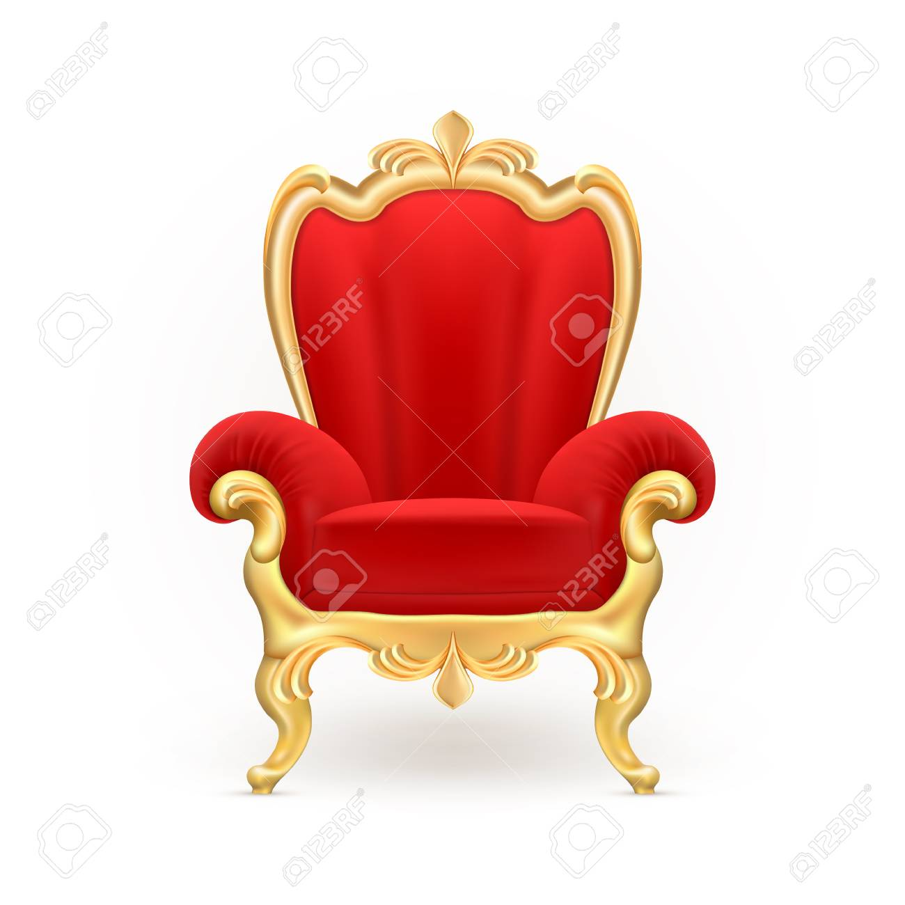 Vector - Vector realistic royal throne, luxurious red chair with carved  golden legs isolated on background. - Vector Realistic Royal Throne, Luxurious Red Chair With Carved