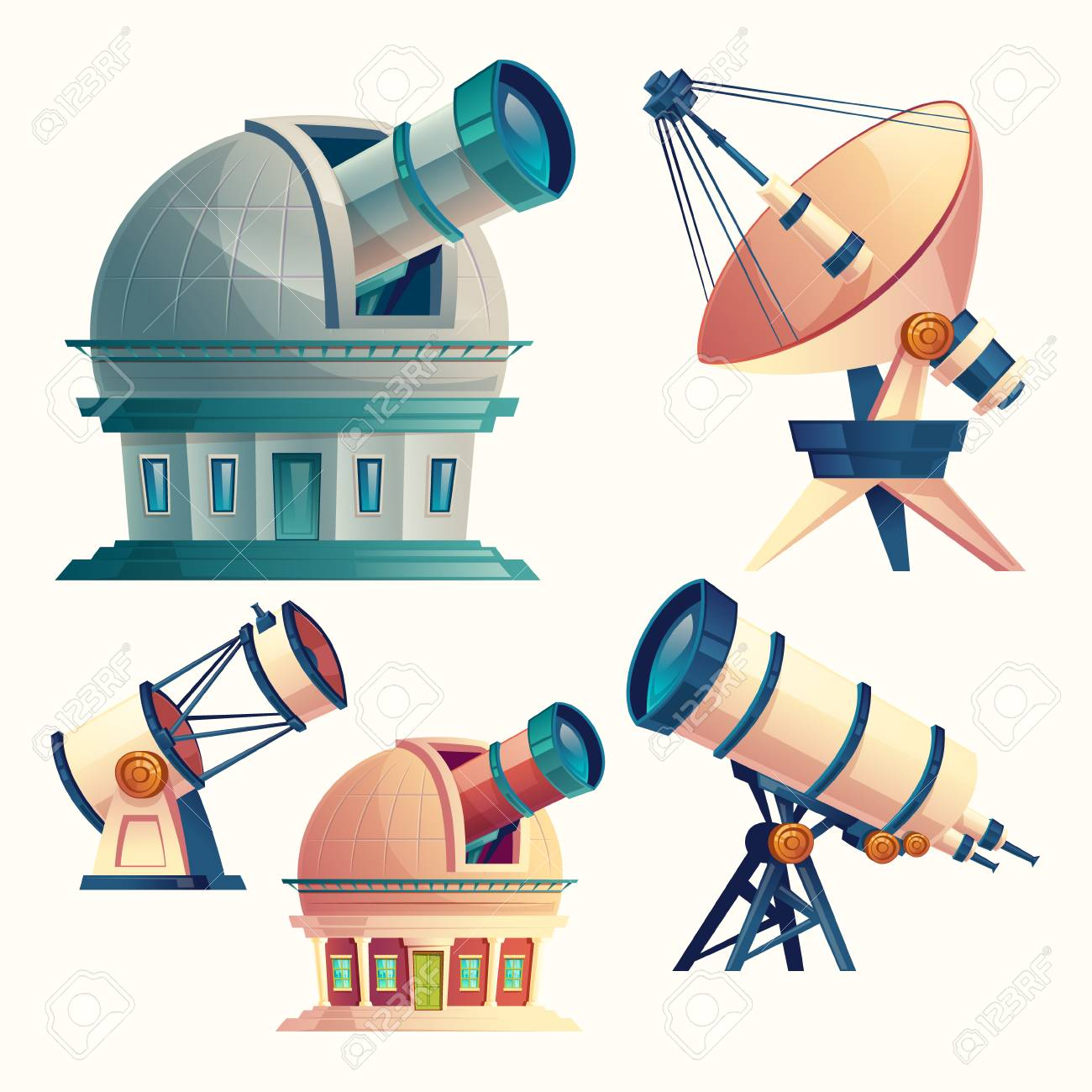 Vector cartoon set with astronomical telescopes, observatories, planetarium, satellite dish. Scientific equipment and optical devices with lenses for observation the sky, stars, cosmos, planets - 104538356