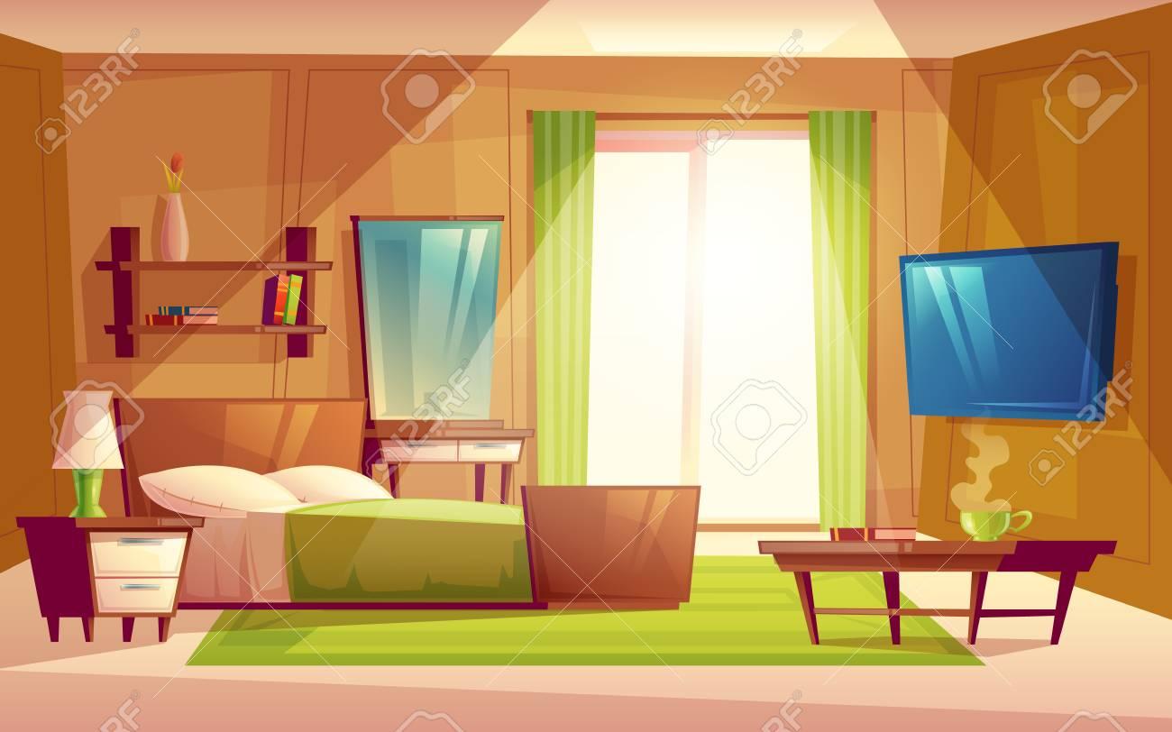 Vector Cartoon Interior Of Cozy Modern Bedroom, Living Room With Double  Bed, TV Set