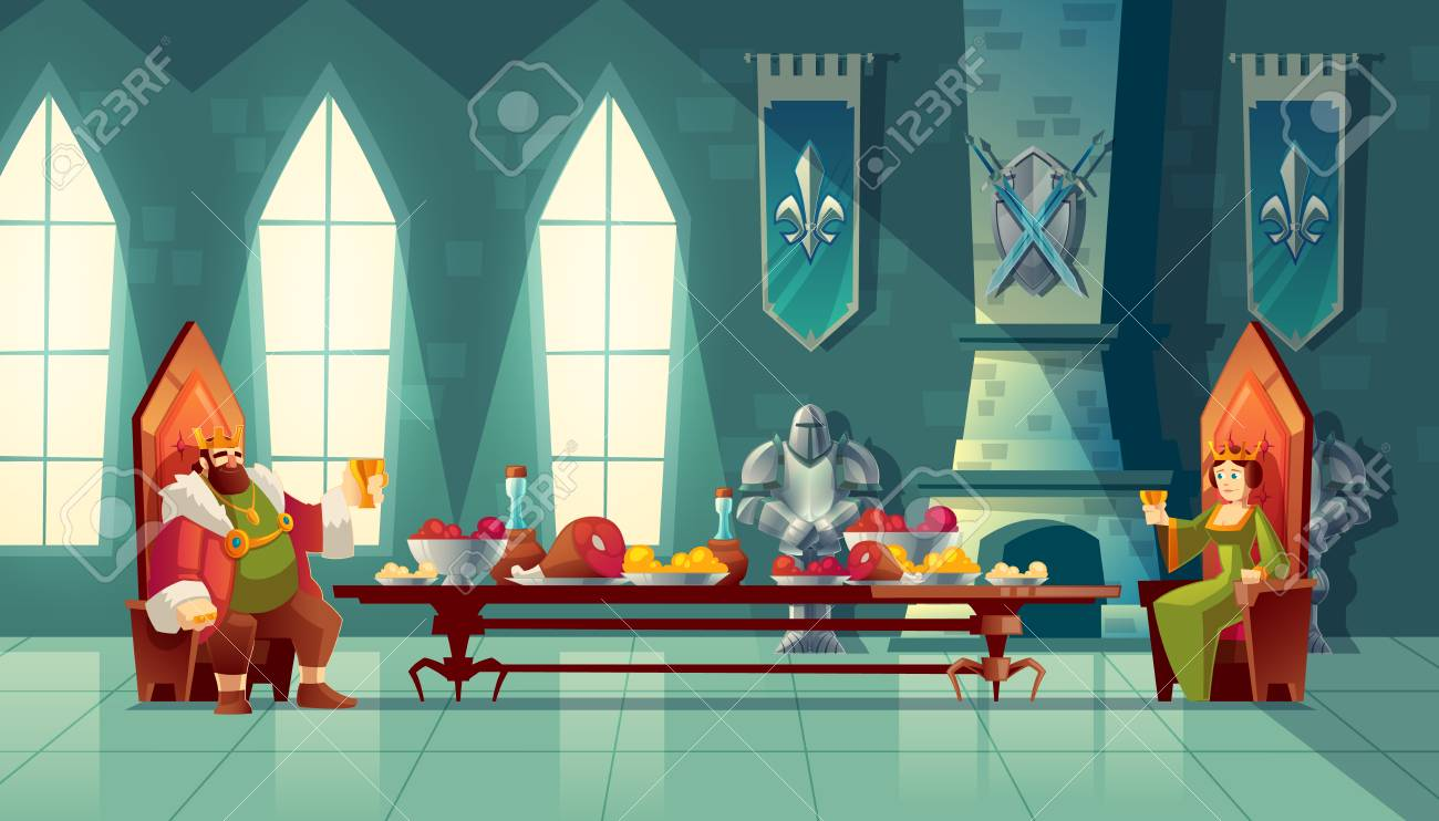 Vector castle hall with king and queen eat lunch. Feast table with food, banquet party. Interior of royal ballroom with throne for luxury banket. Cartoon furniture in medieval palace - 101581603
