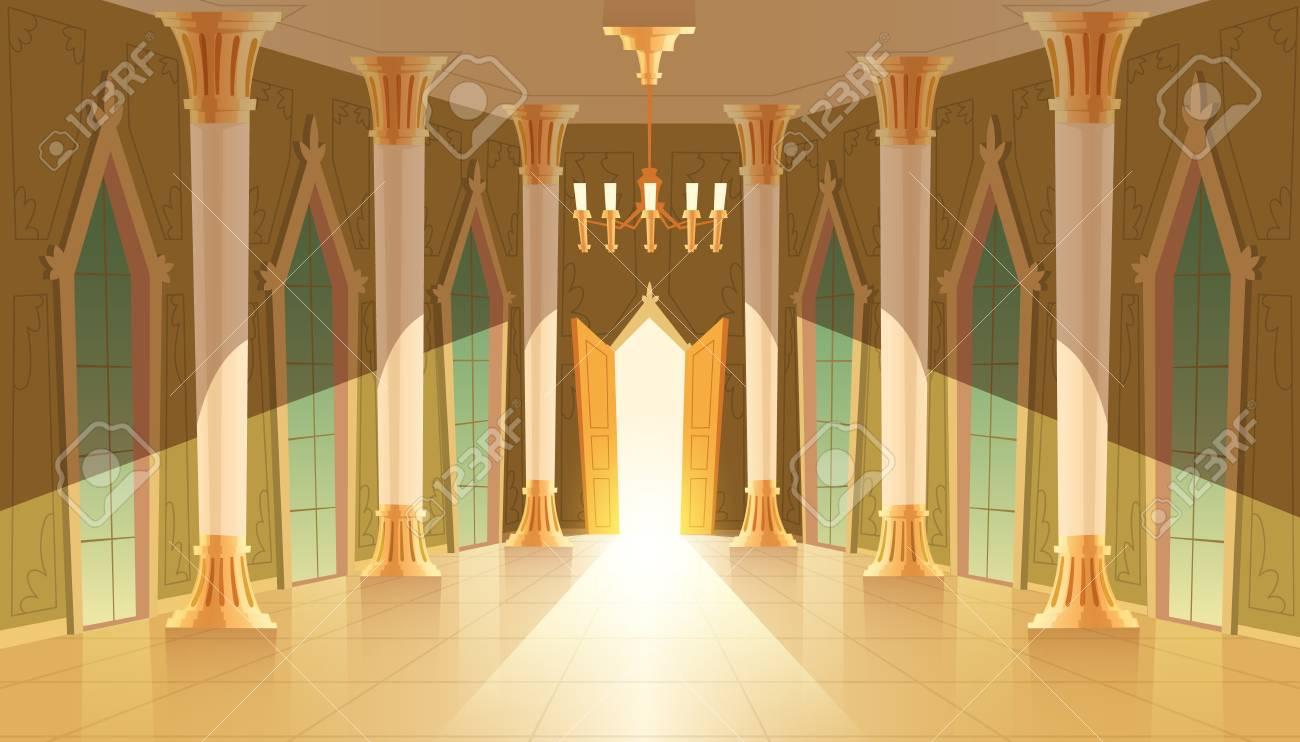 Vector castle hall, interior of ballroom for dancing, presentation or royal reception. Big room with chandelier, closed windows. Open door, light illuminates columns, pillars in luxury medieval palace - 103623795