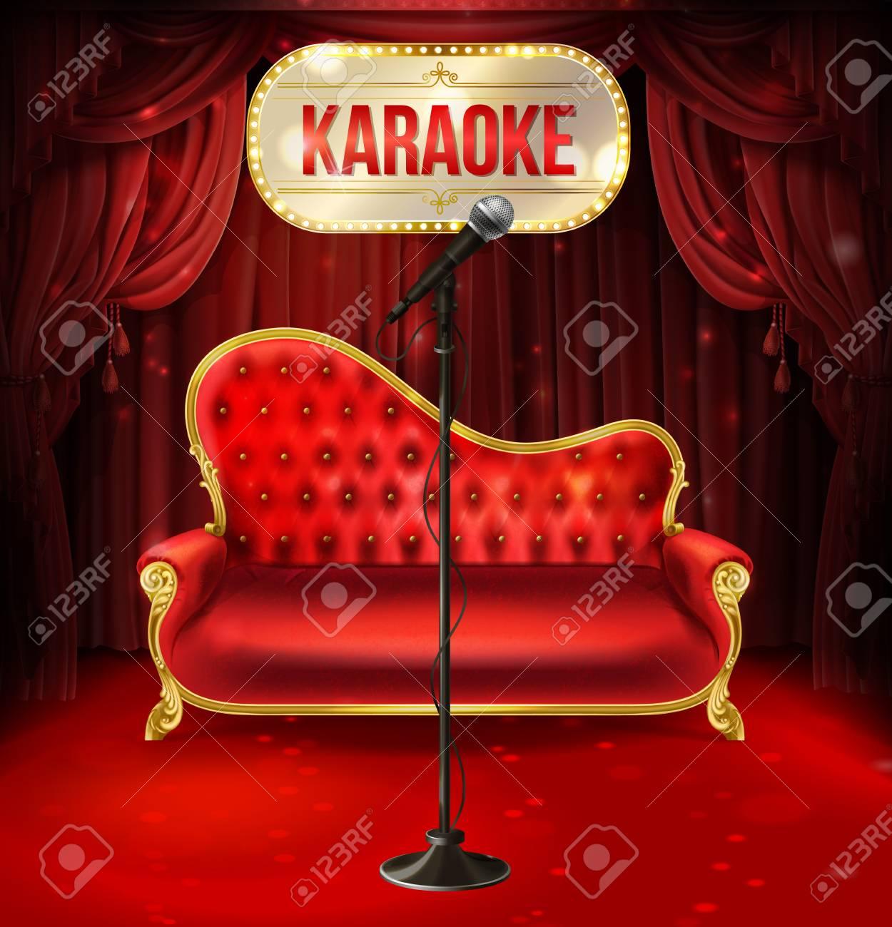 Vector Karaoke Concept. Red Velvet Sofa With Gilded Legs And.. Stock ...