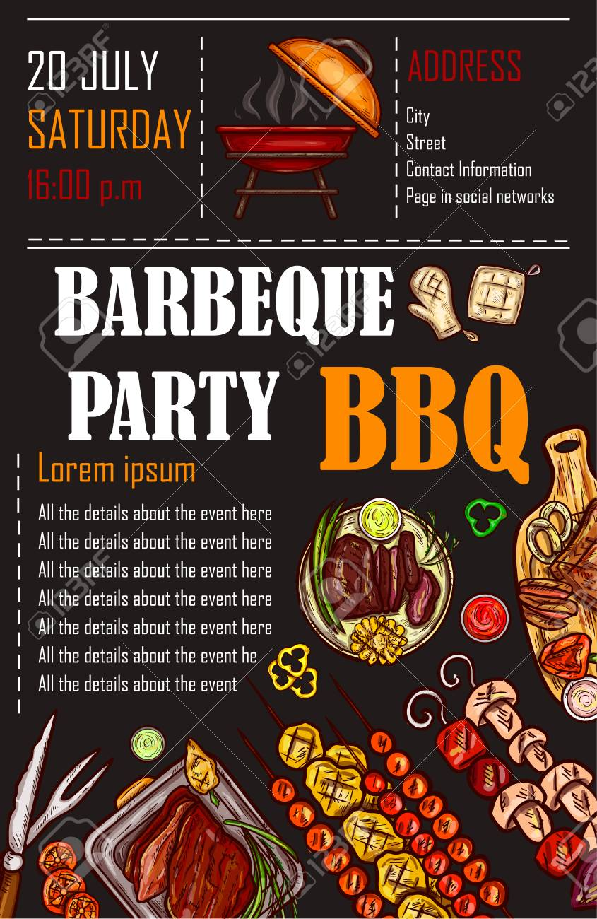 Illustration Of A Bbq Menu Template Invitation Card On A Barbecue