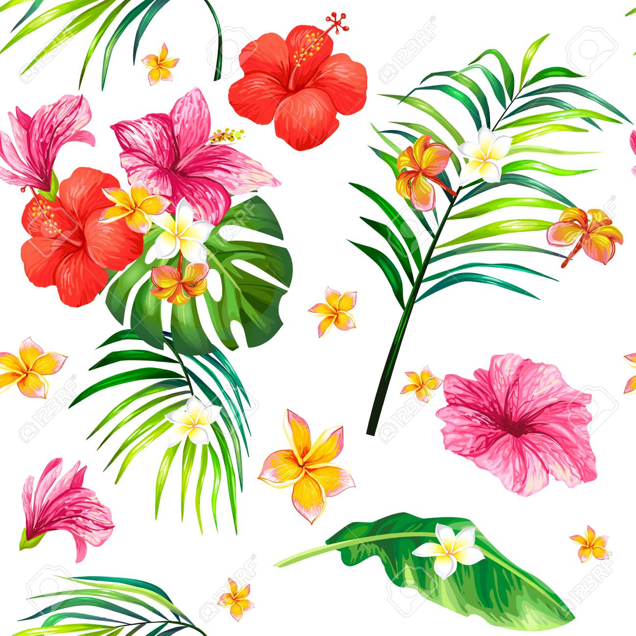 Realistic illustration seamless pattern with tropical hibiscus illustration realistic illustration seamless pattern with tropical hibiscus flowers and palm leaves tropical print template design element for izmirmasajfo