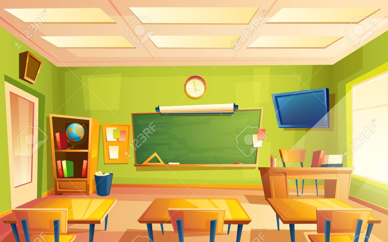Vector school classroom interior. University, educational concept, blackboard, table, chair college furniture. Training room illustration for advertising, web, internet promotion - 104844768