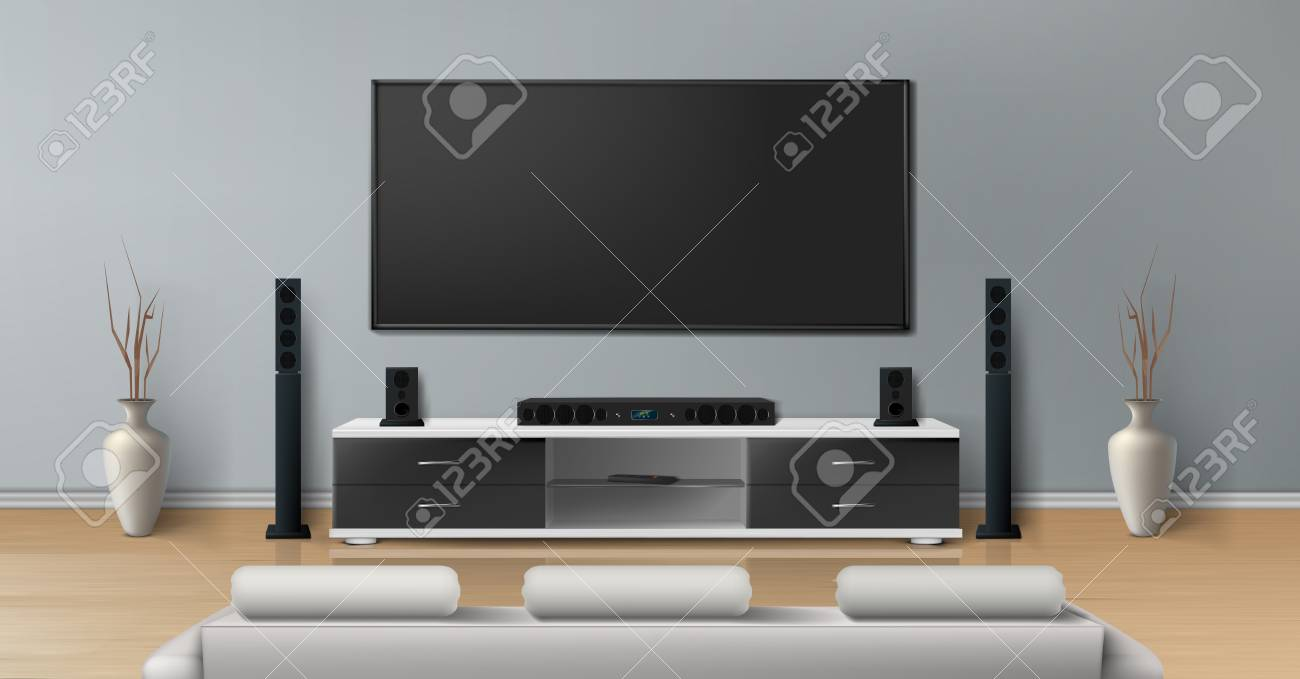 Vector Realistic Mockup Of Living Room With Big Plasma Tv On Royalty Free Cliparts Vectors And Stock Illustration Image 105052841