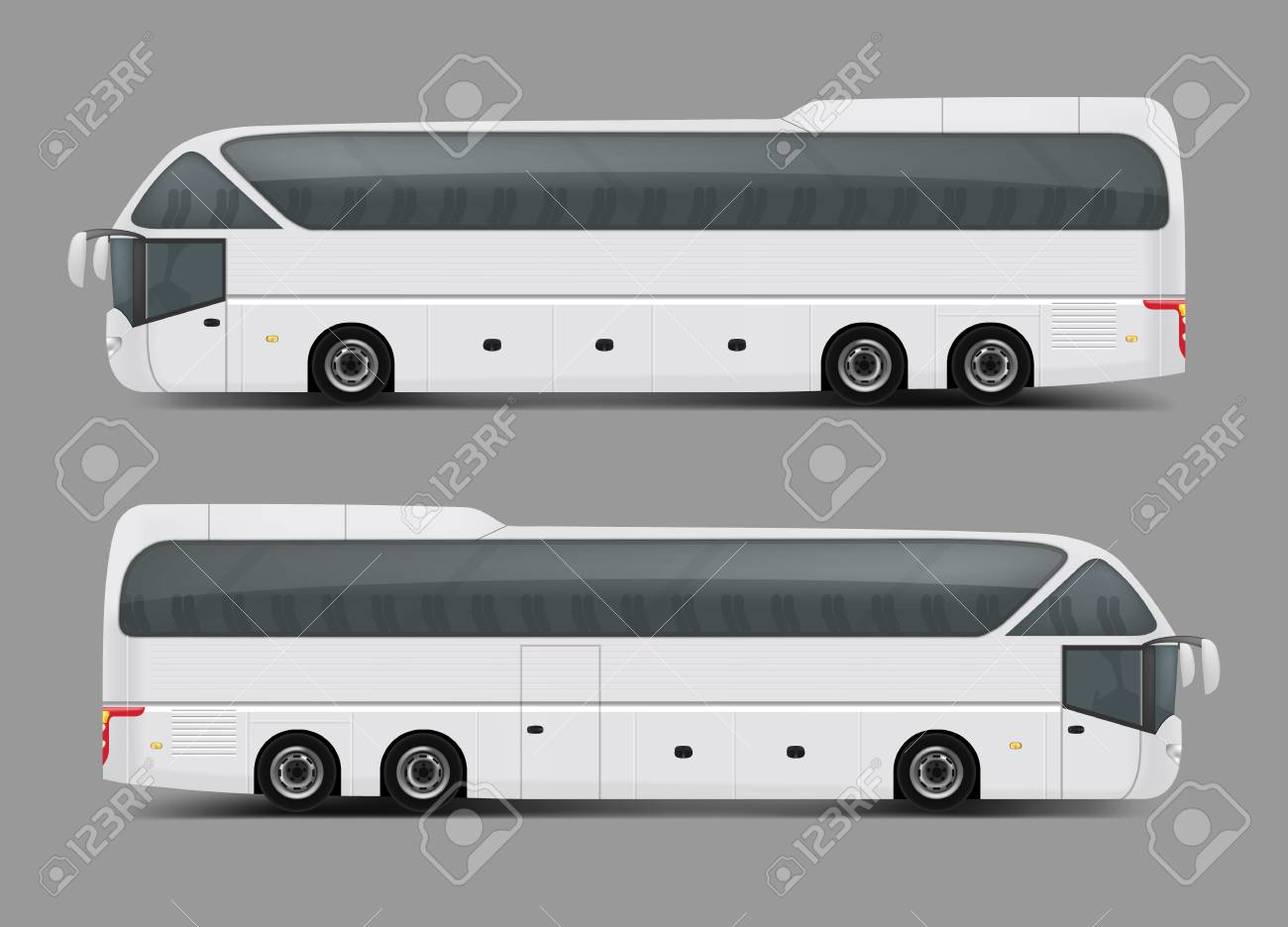 Blank White Private Charter Tour Or Coach Bus Right And Left