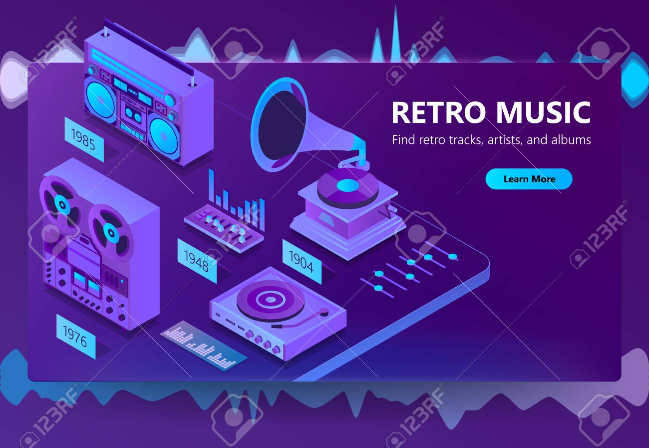 Vector 3d isometric template of site of online listening retro