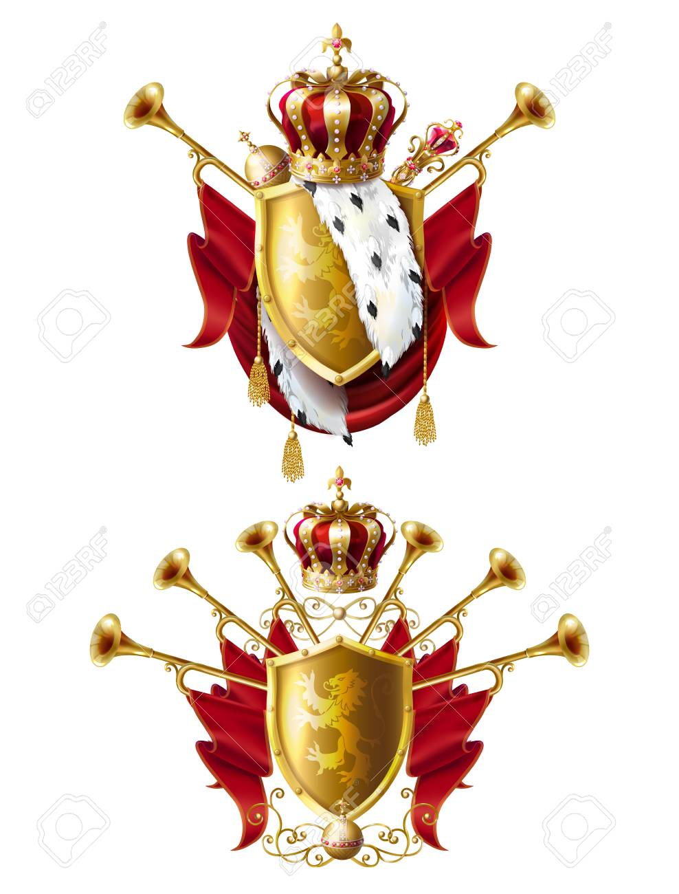 Royal golden crowns with jewels, fanfares, scepter, orb and coat of arms with red velvet and ermine fur, set realistic icons isolated on white background. Heraldic elements, monarchic symbols - 107950398