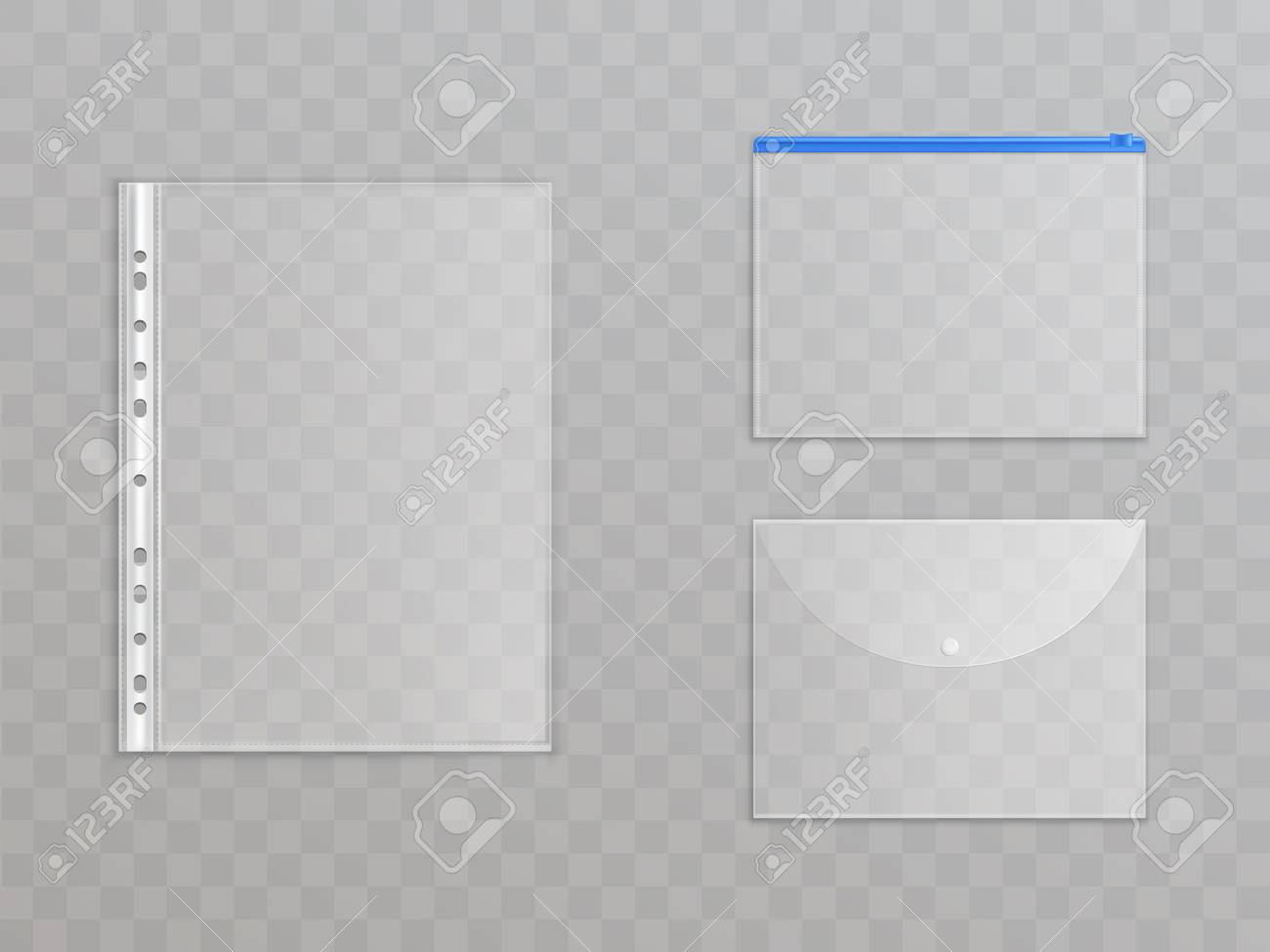 Vector transparent plastic files - set of office supplies. Cellophane folders with zipper, button to protect documents. Translucent stationery collection isolated on background. - 109764988