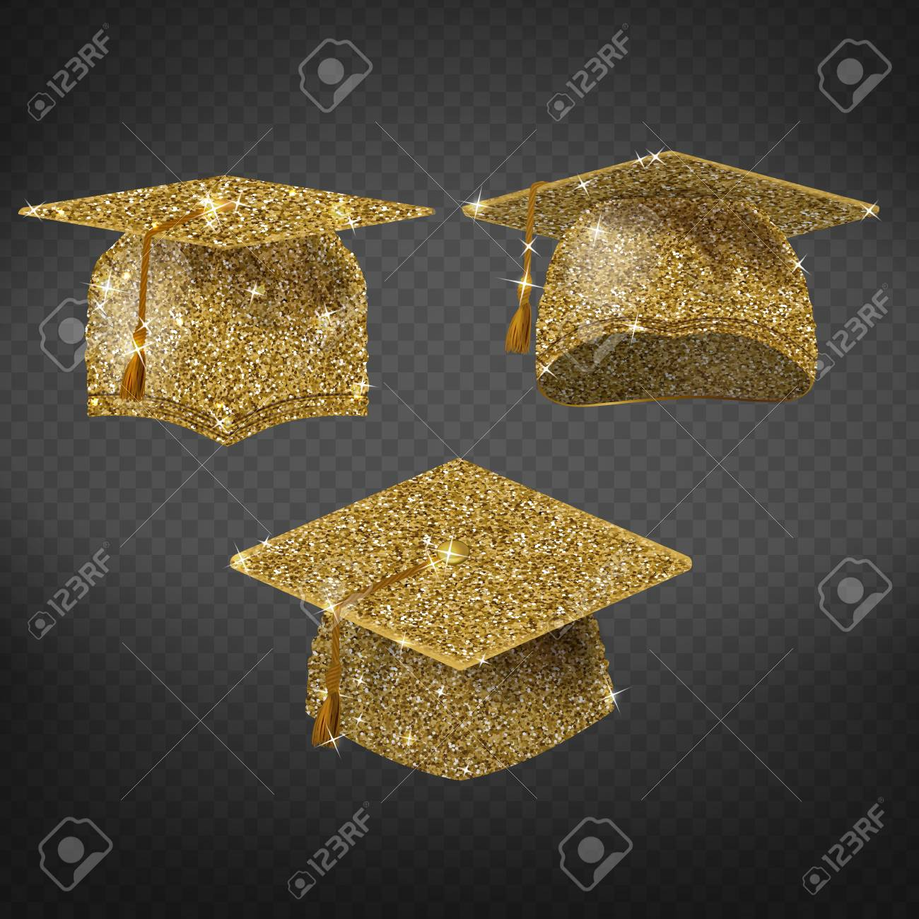 Vector Golden Graduation Cap Shining Symbol Of Education In