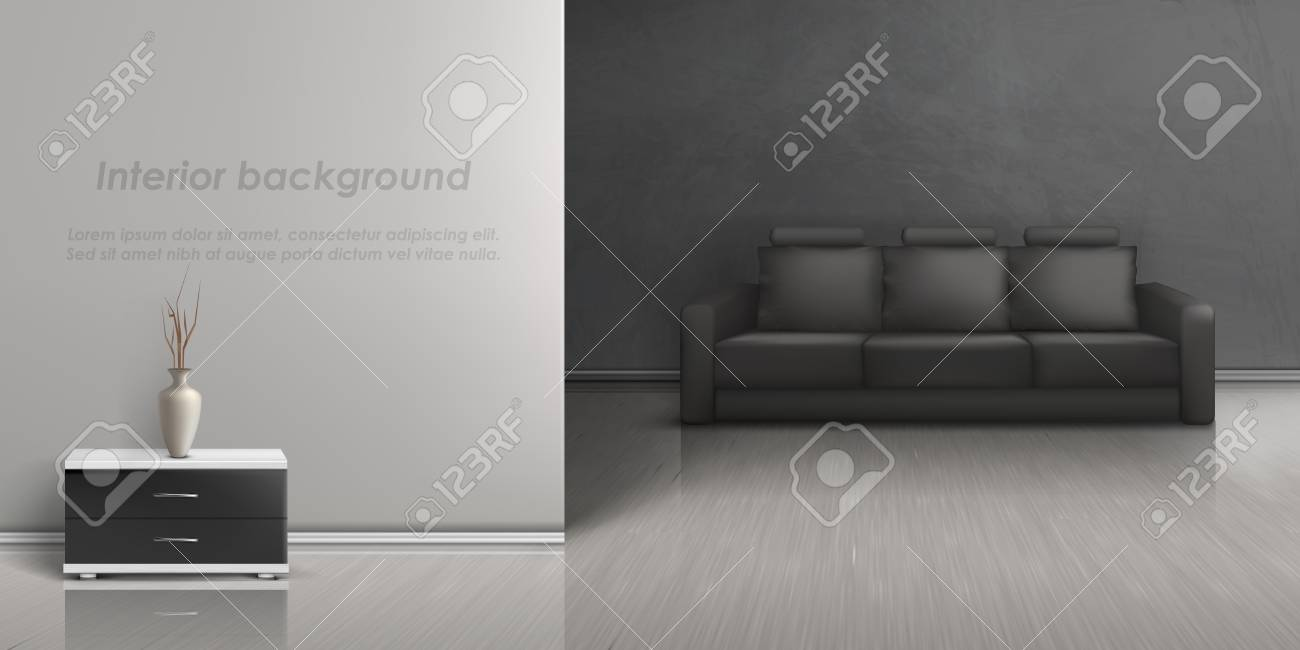 Vector Realistic Mockup Of Empty Living Room With Black Sofa