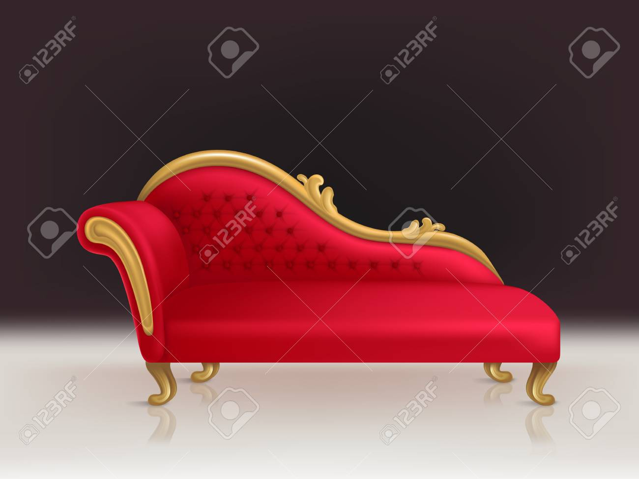 Realistic Luxurious Red Velvet Sofa With Golden Carved Legs On ...