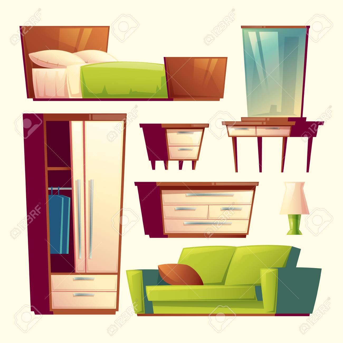 Bedroom Living Room Interior Furniture Cartoon Objects Set Stock