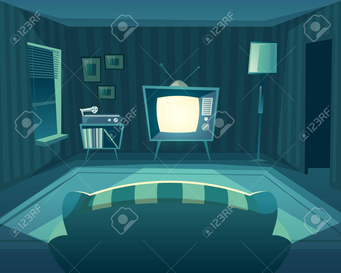 Cartoon Living Room At Night Front View From Sofa To Tv Set Stock Photo Picture And Royalty Free Image Image 111633072