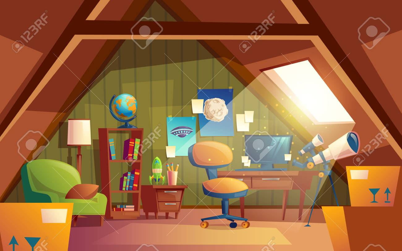 Attic Interior Children Playroom With Furniture Cozy Cartoon