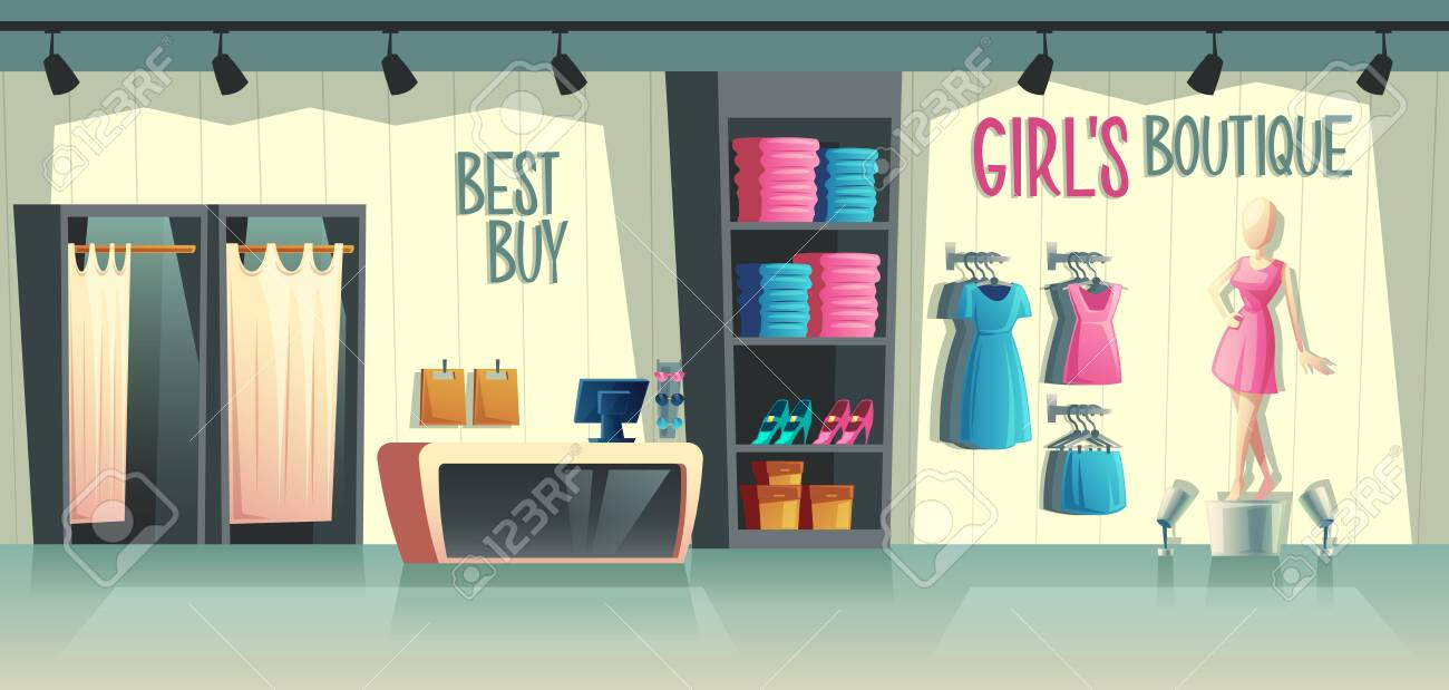Vector girls boutique. Female clothing shop interior - wardrobe with clothes, cartoon mannequin in dress and stuff on hangers. Cashbox with table, fashion store with illumination in a mall. - 125317273